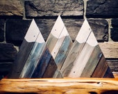 Rustic Mountain made from Barn Wood and Weathered Reclaimed Wood, Snow Capped and Stained Blue Gray, Great for Shelf, Mantel, Wall Hanging