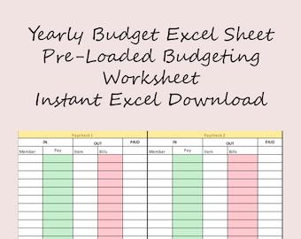 budget templates etsy