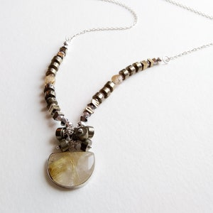 Rutilated Quartz Humble Beginnings Christan Modern Necklace with Sterling Silver Lobster Clasp with Extender Pyrite and Moonstone