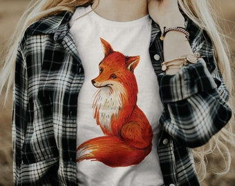 Fox Shirt Women / Womens fox shirt / Fox Gifts / Fox Art / Fox TShirt / Fox Lover / Animal Nature Tee Shirt