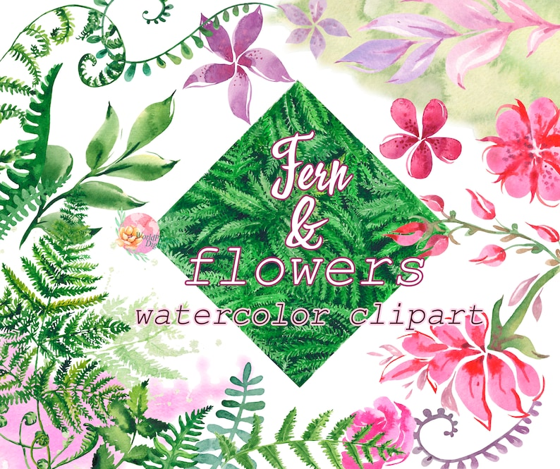 leaves green wild forest wedding suite background. bridal Watercolor floral clipart greeting separate ferns Fern and pink flowers