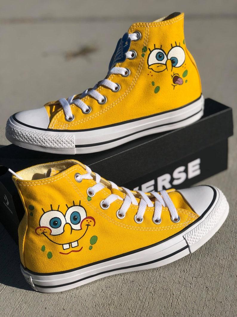 5b8dc0c7ffd38 Spongebob - Custom painted shoes vans converse toms