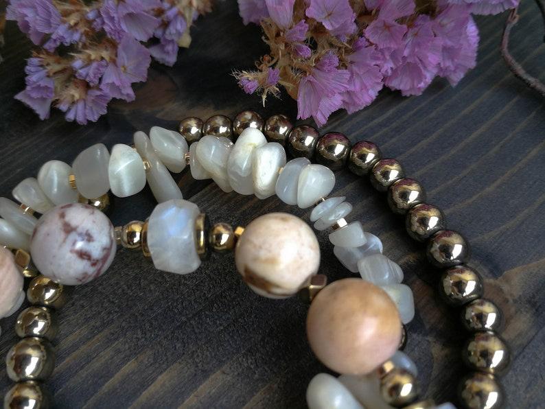 6ce83a25485ee White Stone Bracelet Wanderlust Gift, Moon Stone Summer Bracelet Set New  Job Gift