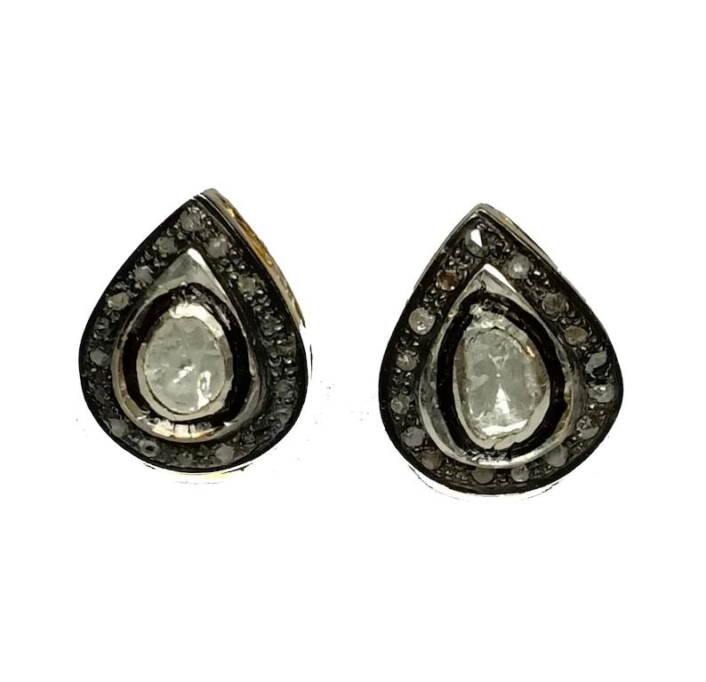 Natural Rose Cut  Diamond Earring 925 Sterling Silver Beautiful Handmade Design Ear Stud In Diamond