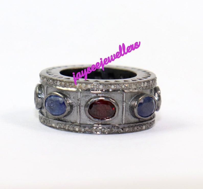 Vintage Handmade Designer Victorian Blue Sapphire /& Garnet And Rose Cut Diamond Round Shape Fine Anniversary Wedding Band Ring