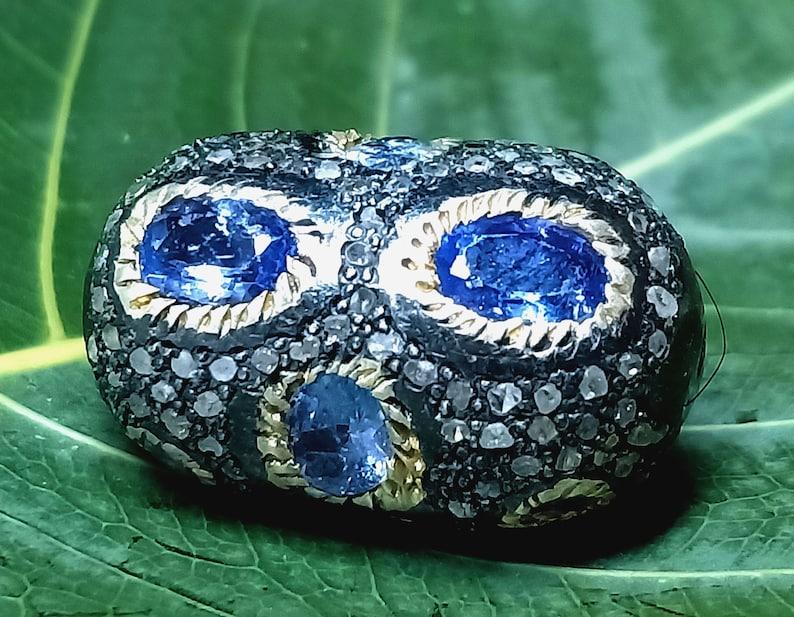 Natural Tanzanite Gemstone and Pave Diamond Handmade 925 Solid Silver Beads