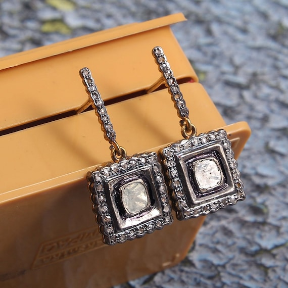 Starling Silver 925 Victorian Vintage Designer Rose Cut Polki Diamond Earring Stylish And Fanciable Gift Someone Nicely Crafted Earrings