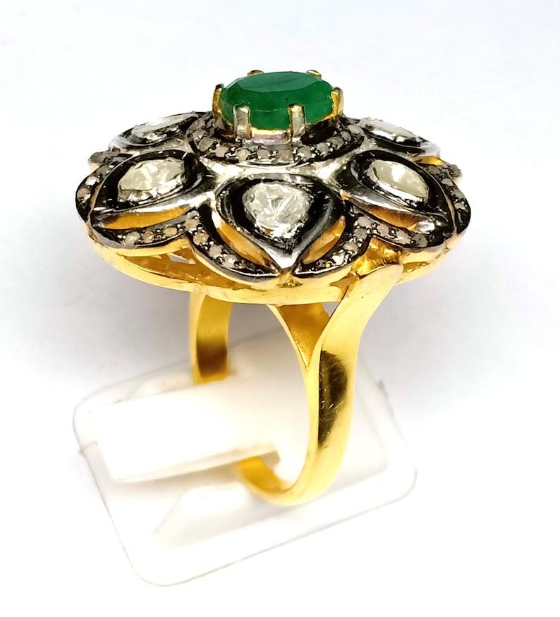 Vintage Victorian Design Emerald Gemstone Ring With Rose Cut Diamond 925 Sterling Silver Handmade Design Beautiful Ring