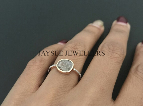 925 Sterling Silver Natural Rose Cut Polki Pave Diamond Jewelry Band Ring
