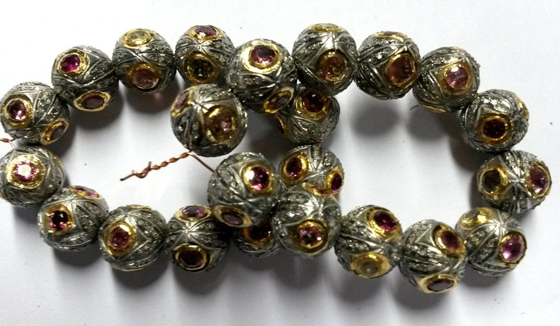 Victorian Style Handmade Designer Sterling Silver 925 Beads Tourmaline /& Diamond 1 Piece Beautiful Crafted Silver Beads Size 16x14 mm Beaads