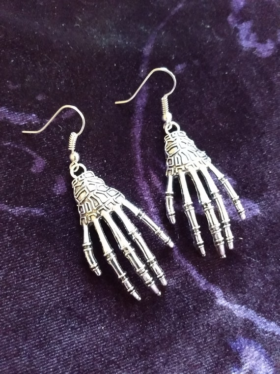 Gothic Witchy Pagan Skeleton Earrings Halloween