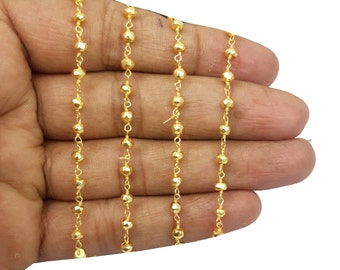 Bulk Sale~~Wholesale Sale~Mega Sale~~100 Feet Beautiful Gold pyrite Beaded Chain 3mm-3.5mm Rosary Chain,Black Wire Wrapped Chain