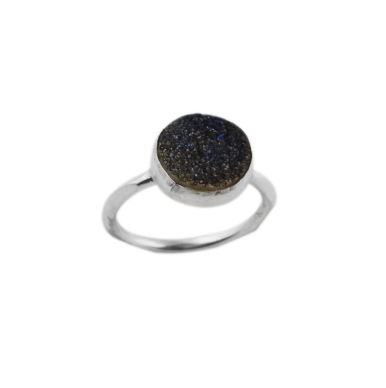 Solid 925 Sterling Silver Blue Titanium Druzy Gemstone Handmade Ring Jewelry Gift For Her 10mm Round Blue Titanium Druzy Ring Jewelry