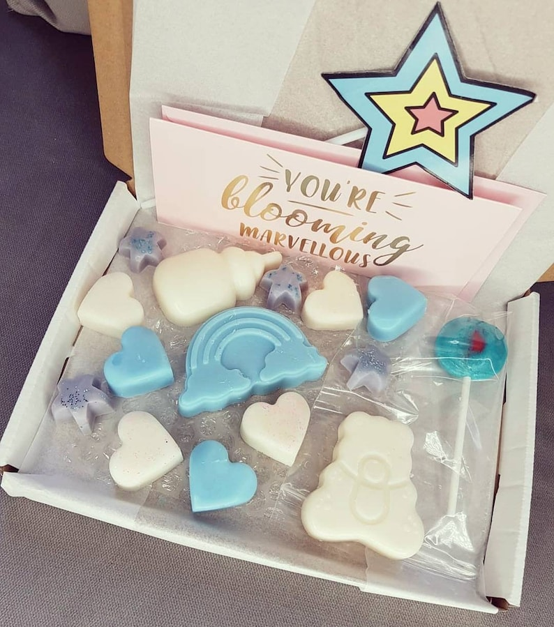 wax melt soy wax baby shower gift party favour new mom home scent new baby wax melts baby shower Baby shower box