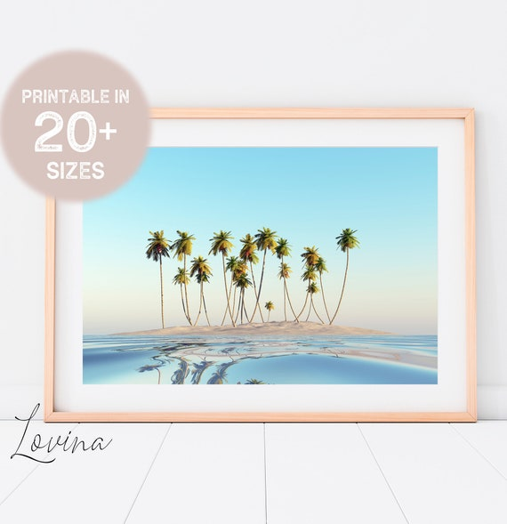 Tropical Beach Sea Island Palm Tree Paradise Landscape Large Poster Art Print