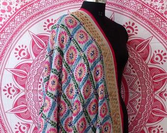 eb8aaae2eb Handmade Soft Phulkari Dupatta Georgette Fabric Women Stole Hand  Embroidered Phulkari Neck Wrap Soft Pakistani Phulkari Hijab