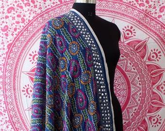 cde0b14729 Blue Handmade Soft Phulkari Dupatta Georgette Fabric Women Stole Hand  Embroidered Phulkari Neck Wrap Soft Pakistani Phulkari Hijab