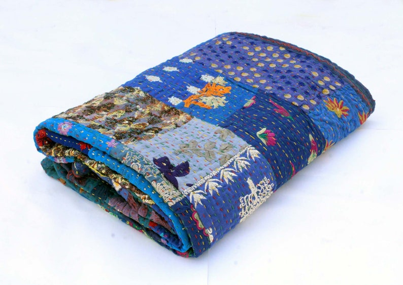 Blue Sari Patchwork Kantha Quilt Hand Embroidered Kantha Blanket Indian Cotton Kantha Throw Hand Stitched Bohemian Kantha Bedspread