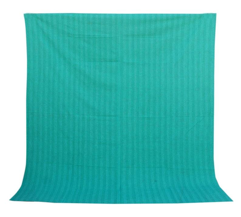 Green Ikat Design Kantha Quilt Handmade Kantha Blanket Queen Size Kantha Throw Indian Cotton Kantha Bedspread Hand Stitched Kantha Bed Cover
