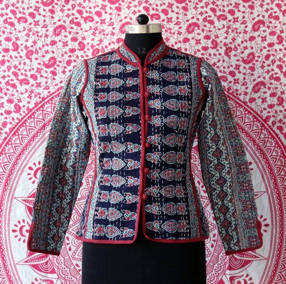 Handmade Quilted Outwear Coat Reversible Block Print Women Jacket