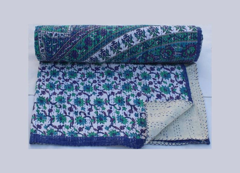 Bohemian Kantha Quilt King Size Mandala Kantha Throw Indian Hand Stitched Kantha Blanket Floral Design Handmade Kantha Bedspread