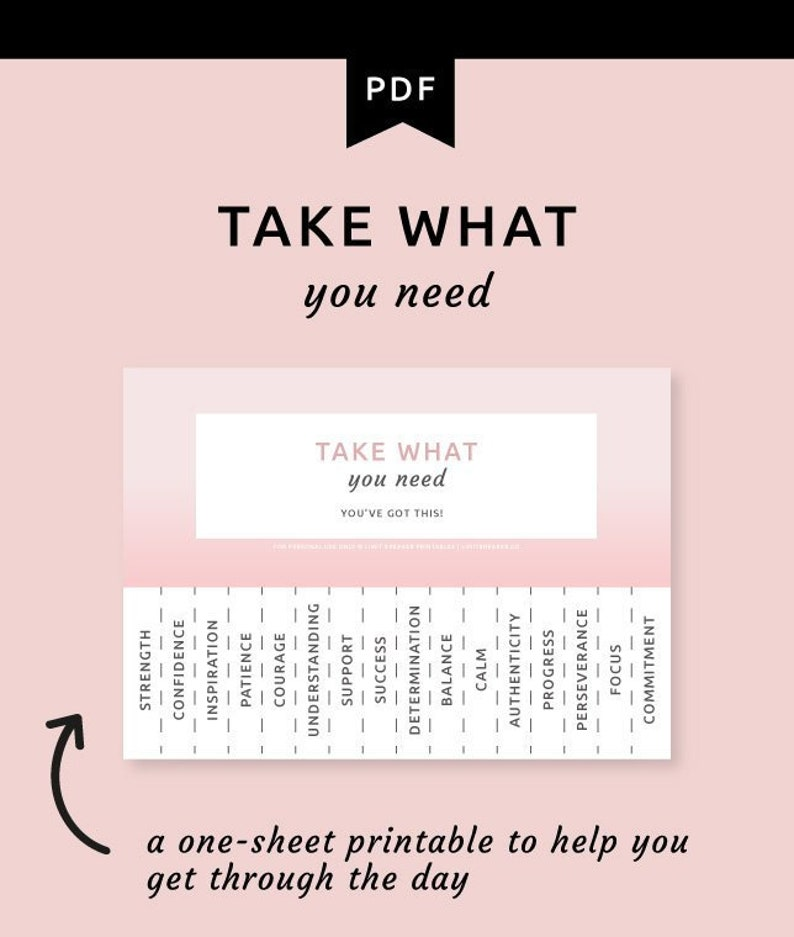 photo regarding Take What You Need Printable identify Choose What Yourself Want Printable Tear Absent Poster, Make sure you Choose What By yourself Need to have, Self Treatment Poster