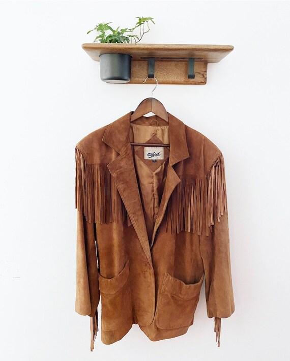 Tan suede fringe vintage jacket - image 1