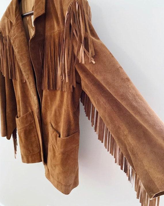 Tan suede fringe vintage jacket - image 4