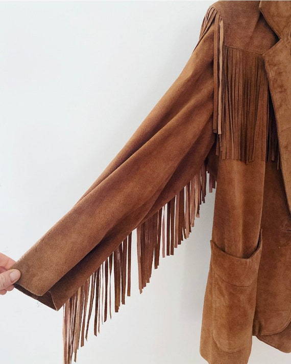 Tan suede fringe vintage jacket - image 3
