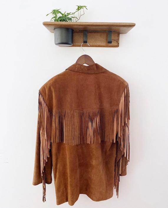 Tan suede fringe vintage jacket - image 2