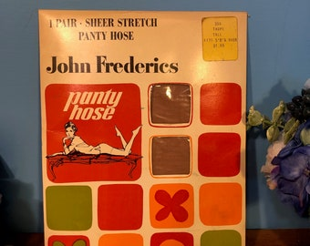 480486e93 Vintage 1960s John Frederics Full Length Nylons   Stockings   Panty Hose -  Taupe - NEW in Envelope (1 Pair - Size Tall)