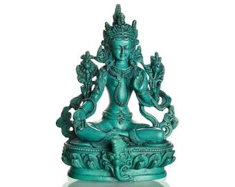 Green Tara Statue 15 cm resin (casting resin) turquoise | Green Tara | Handmade from Nepal - Buddha Figure - Buddha Statue