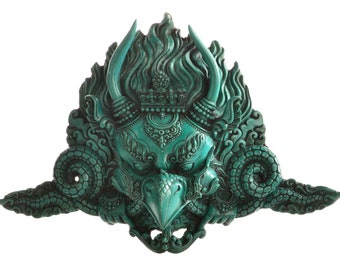 Garuda mask (wall hanging) made of resin (casting resin) turquoise | Handmade from Nepal