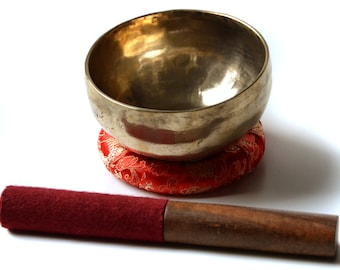 Singing bowl handmade 250 g - 300 g with pillow & gratab from Nepal | Sound Set 3 parts | Christmas Gift | Crafts