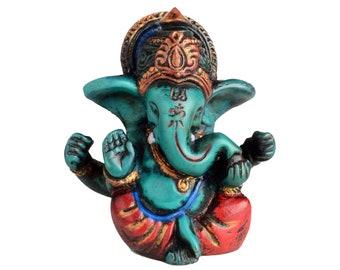 Ganesha Statue 6.5 cm Painted in Resin (Casting Resin) Turquoise | Elephant God Ganesh | Handmade from Nepal - Figure