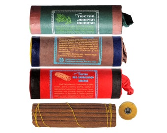 Incense Sticks set of 3 Tibetan Acient: Tibetan Red Sandalwood, Tibetan Cedarwood & Tibetan Juniper Incense from Nepal
