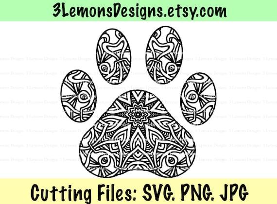 Dog Mandala Dog Mom Svg Rescue Mom Fur Baby Cut File Paw Etsy