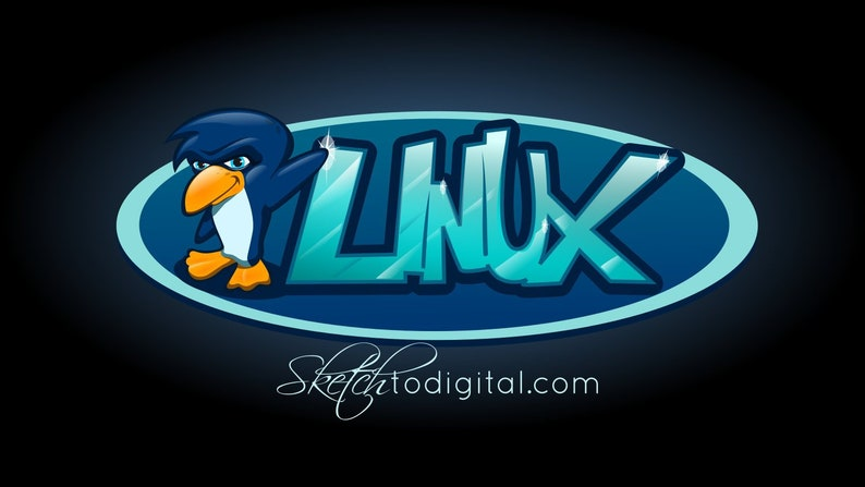 Linux Penguin Standing Next to Ice Blue Linux Logo