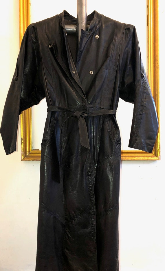 Vintage Women's Long Leather Trench Coat 1960s-197