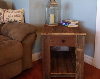 Rustic side table | Etsy