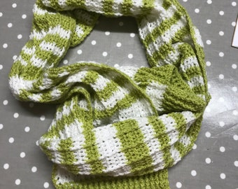 d839515f43e Hand crocheted striped scarf