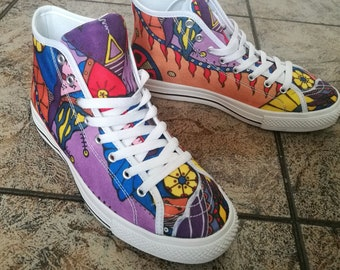 best service c046d d89b1 custom painted shoes, Art shoes, womens sneakers, canvas high tops, womens  shoes