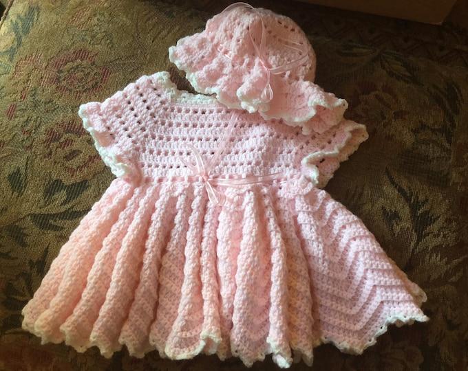 Crochet Dress w/Bonnet