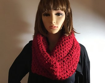 Red Crochet Cowl