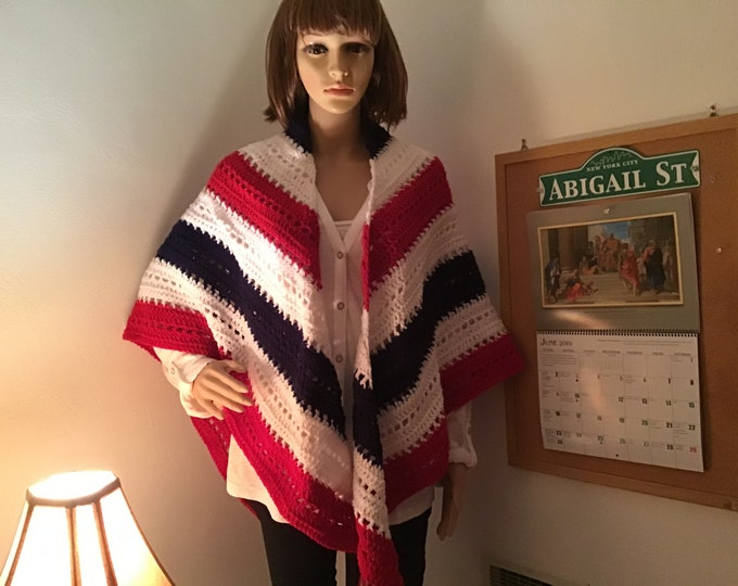 Patriotic Shawl Crocheted