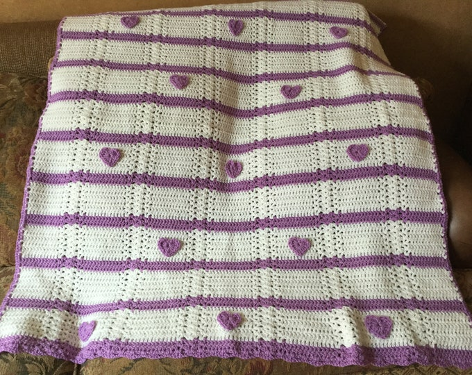 Crochet Hearts Throw