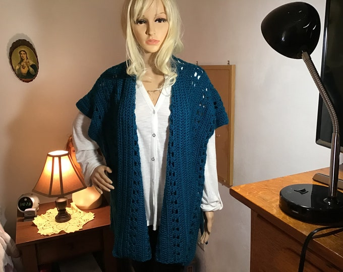 Crochet Teal kimono