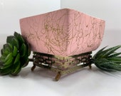 Funky Retro MCM Vintage Pink Spaghetti Gold Maddux of California No. 109 Square Planter Plant Pot with Gold Metal Footed Geometric Stand