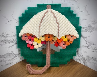 Vintage Handmade Needlepoint Spring Umbrella Floral Flowers Wreath Wall Decor Door Hanging April Showers May Flowers