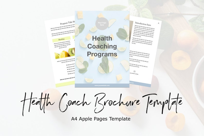 A4 Health Coach Brochure Template for Apple Pages | template design,  welcome pack, services list